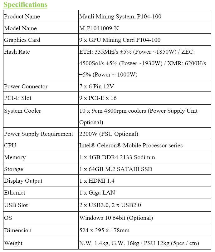 News] Manli Announces P104-100 Turnkey Mining System