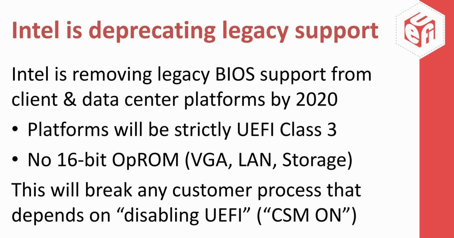 Intel to Remove Legacy BIOS Support from Motherboard UEFI in