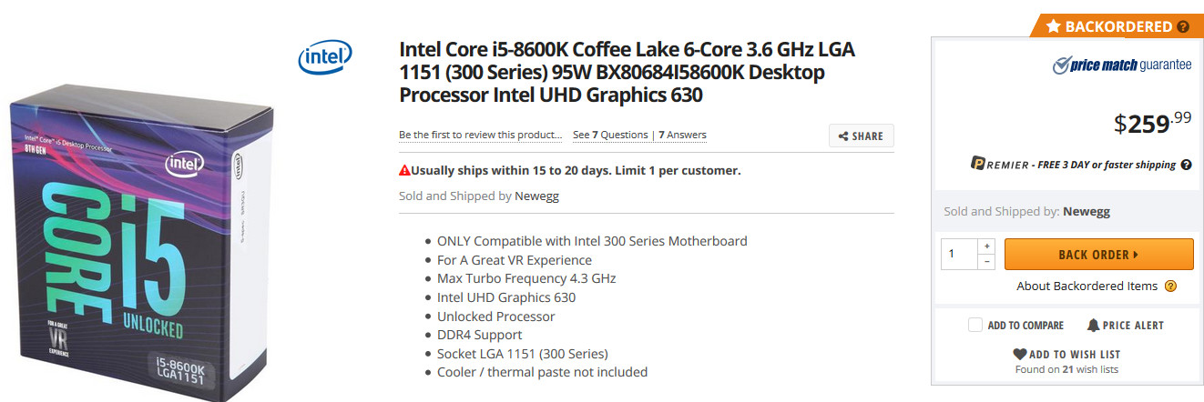 Newegg Confirms Limited Availability of Intel Core 8th Gen