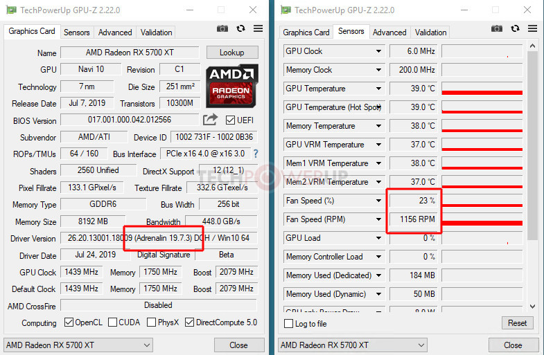 AMD Radeon 19 7 3 Drivers Increase RX 5700 Series Idle Fan Speeds by