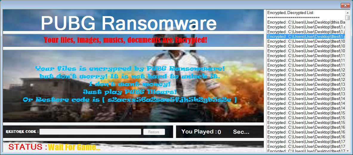 PUBG Ransomware Forces Users to Play PUBG to Decrypt Their