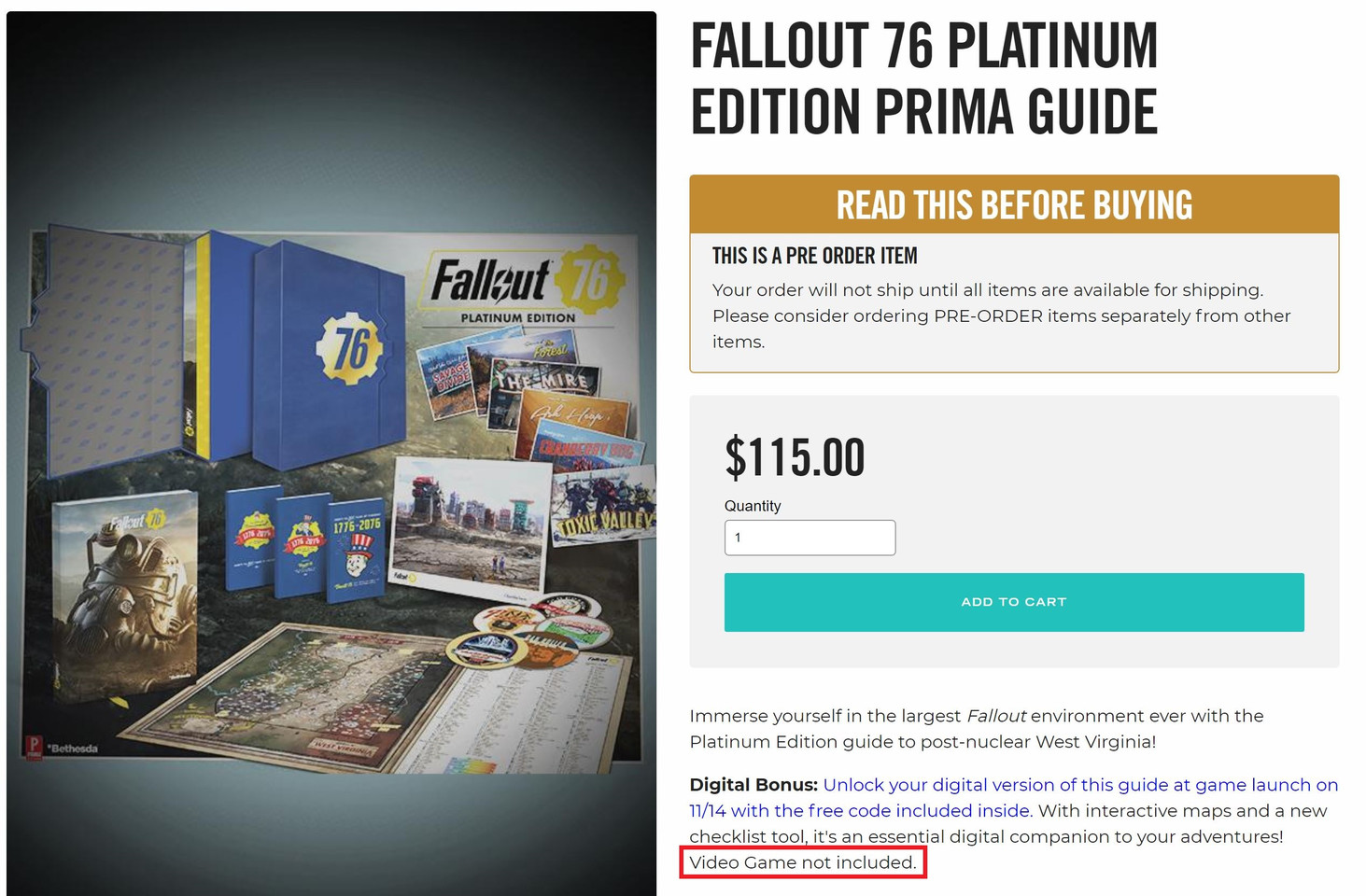 Fallout 76 Platinum Edition Costs $115, Doesn't Include the