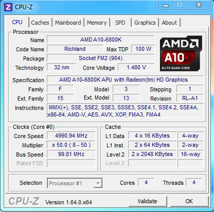 Тест A10-6800K (Richland)